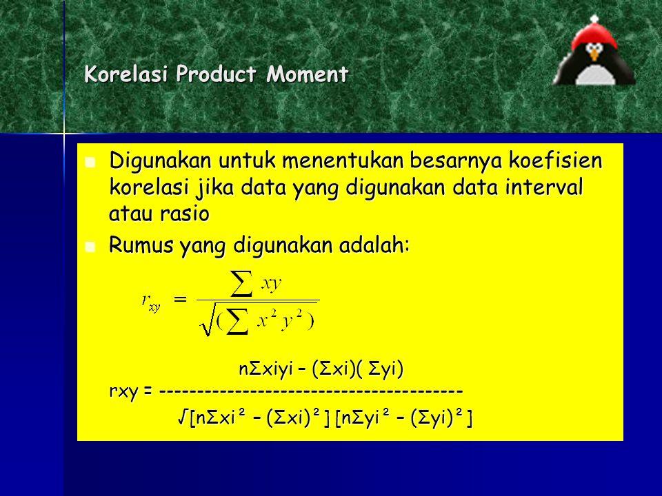 Beberapa Analisis Korelasi yang Akan Kita Pelajari: Korelasi Product Moment (Pearson) Korelasi Product Moment (Pearson) Korelasi Rank Spearman Korelas