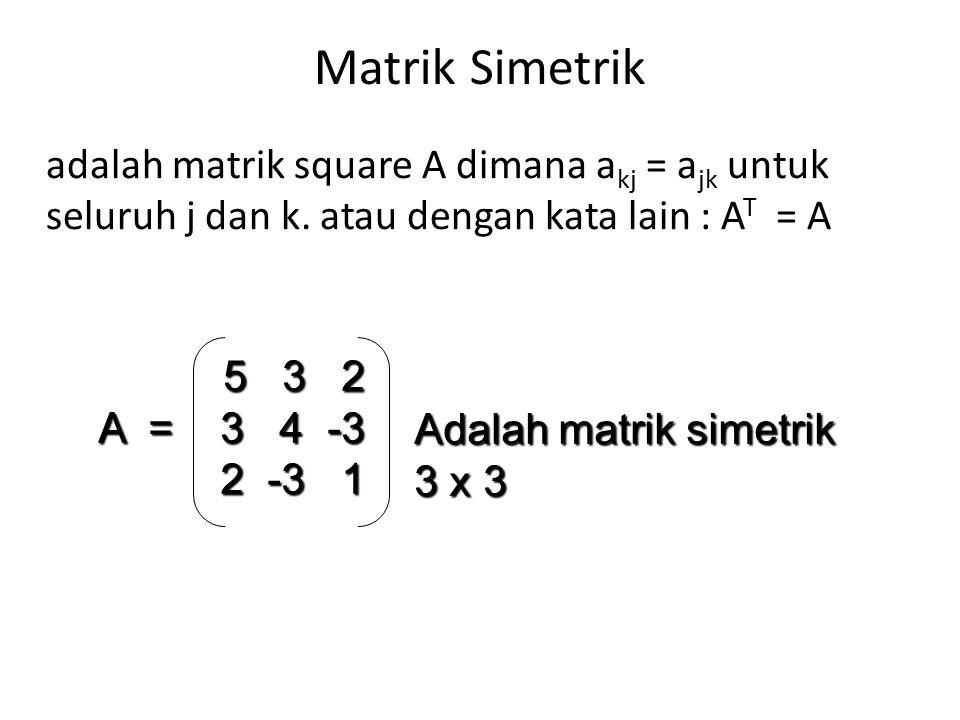 Matrik Simetrik adalah matrik square A dimana a kj = a jk untuk seluruh j dan k. atau dengan kata lain : A T = A 5 3 2 A = 3 4 -3 2 -3 1 Adalah matrik
