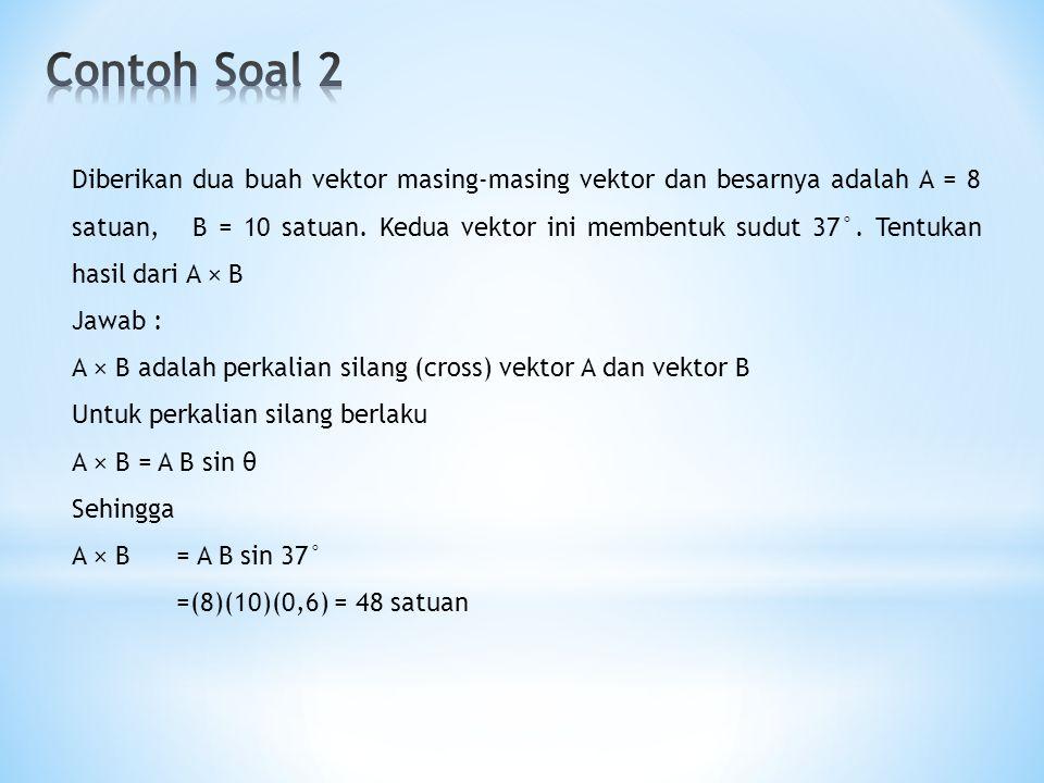 Diberikan dua buah vektor masing-masing vektor dan besarnya adalah A = 8 satuan, B = 10 satuan. Kedua vektor ini membentuk sudut 37°. Tentukan hasil d