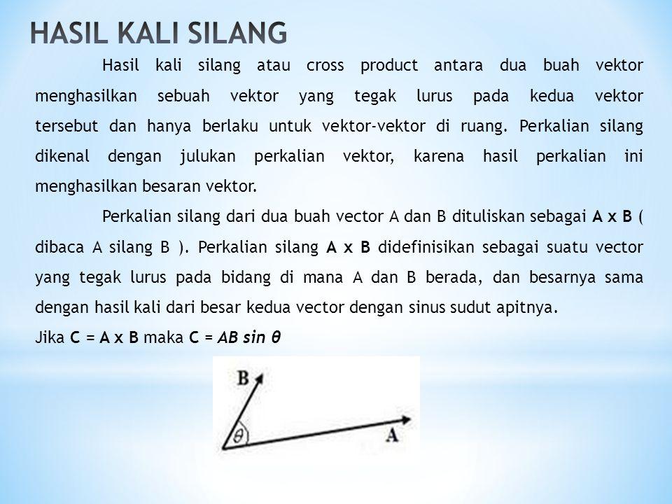 Hasil kali silang atau cross product antara dua buah vektor menghasilkan sebuah vektor yang tegak lurus pada kedua vektor tersebut dan hanya berlaku u