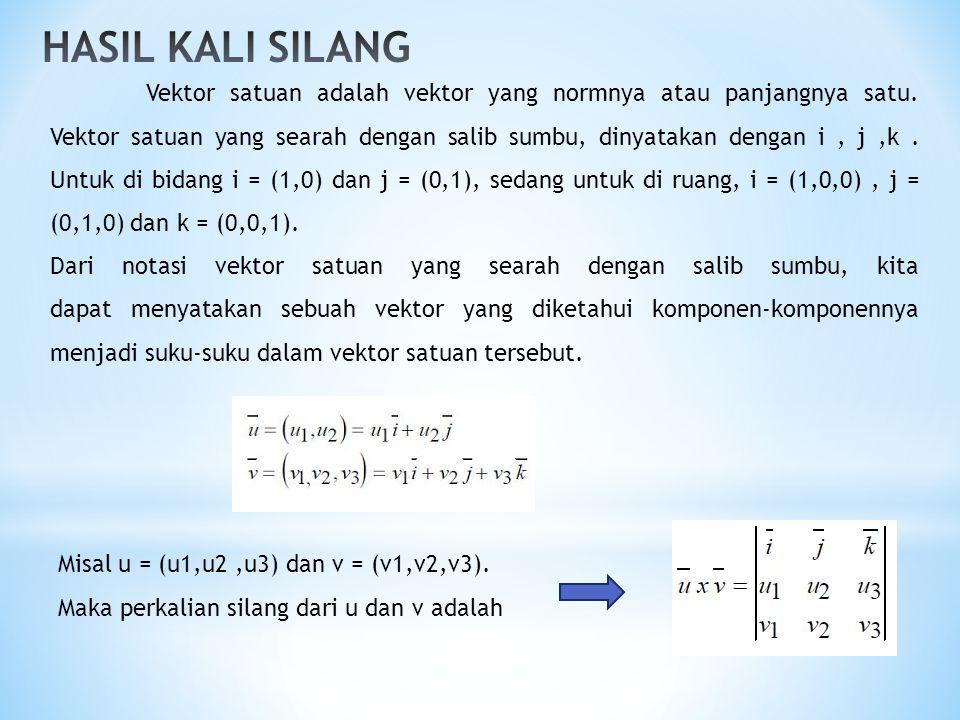Vektor satuan adalah vektor yang normnya atau panjangnya satu. Vektor satuan yang searah dengan salib sumbu, dinyatakan dengan i, j,k. Untuk di bidang