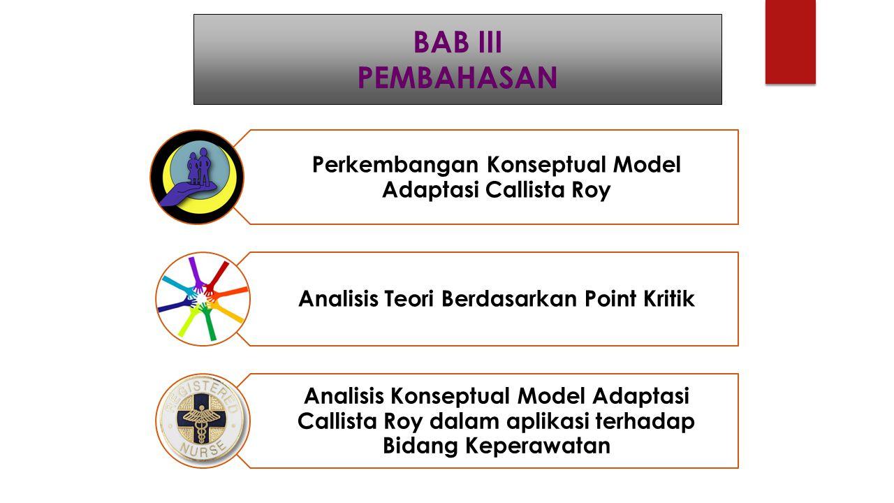 BAB III PEMBAHASAN Perkembangan Konseptual Model Adaptasi Callista Roy Analisis Teori Berdasarkan Point Kritik Analisis Konseptual Model Adaptasi Call