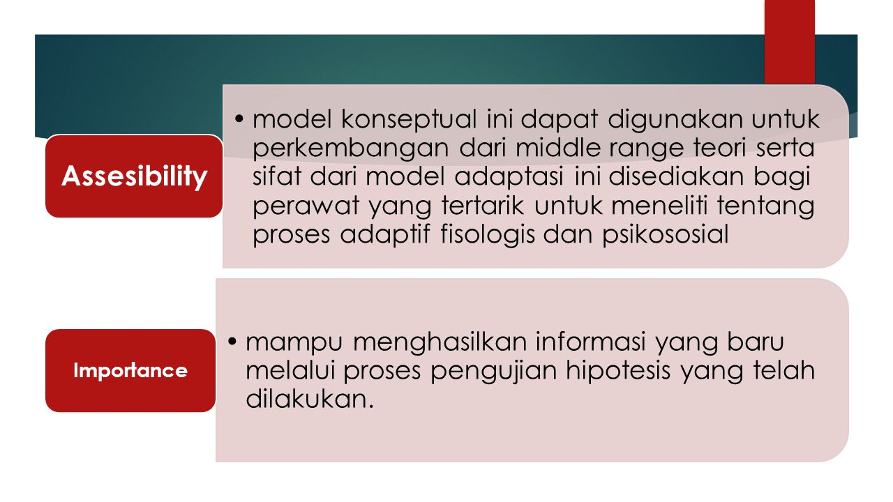 model konseptual ini dapat digunakan untuk perkembangan dari middle range teori serta sifat dari model adaptasi ini disediakan bagi perawat yang terta