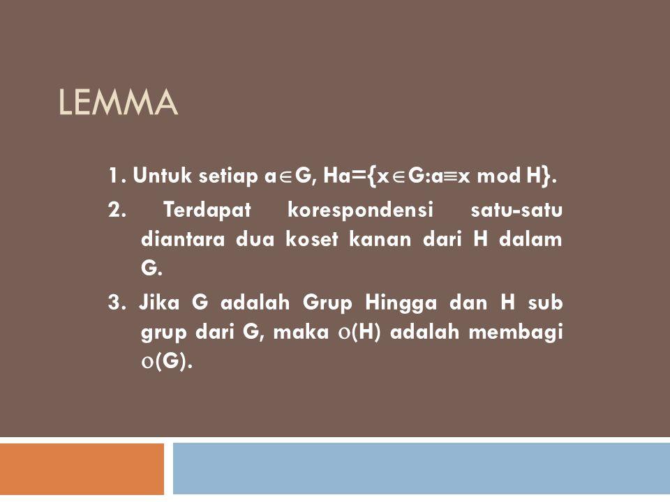 LEMMA 1. Untuk setiap a  G, Ha={x  G:a  x mod H}. 2. Terdapat korespondensi satu-satu diantara dua koset kanan dari H dalam G. 3. Jika G adalah Gru
