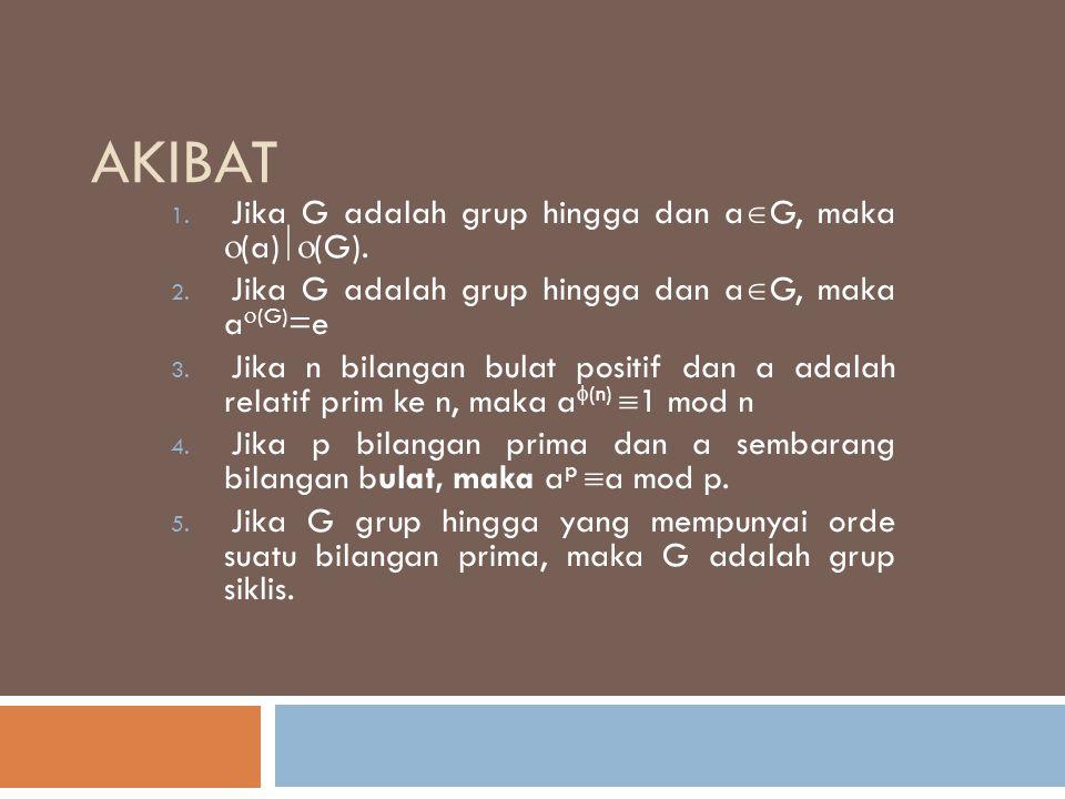 AKIBAT 1. Jika G adalah grup hingga dan a  G, maka  (a)  (G). 2. Jika G adalah grup hingga dan a  G, maka a  (G) =e 3. Jika n bilangan bulat pos