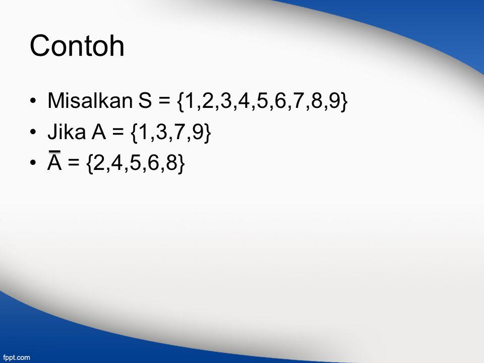 Contoh Misalkan S = {1,2,3,4,5,6,7,8,9} Jika A = {1,3,7,9} A = {2,4,5,6,8}