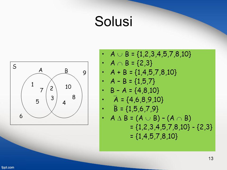 13 Solusi A  B = {1,2,3,4,5,7,8,10} A  B = {2,3} A + B = {1,4,5,7,8,10} A – B = {1,5,7} B – A = {4,8,10}  A = {4,6,8,9,10}  B = {1,5,6,7,9} A  B