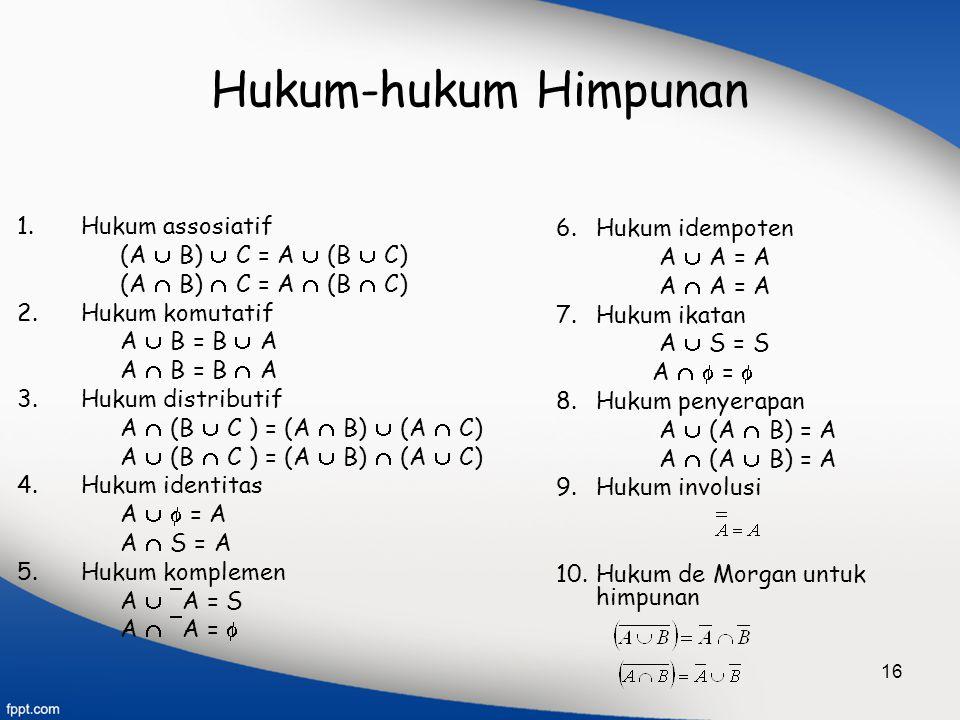 16 Hukum-hukum Himpunan 1.Hukum assosiatif (A  B)  C = A  (B  C) (A  B)  C = A  (B  C) 2.Hukum komutatif A  B = B  A A  B = B  A 3.Hukum d