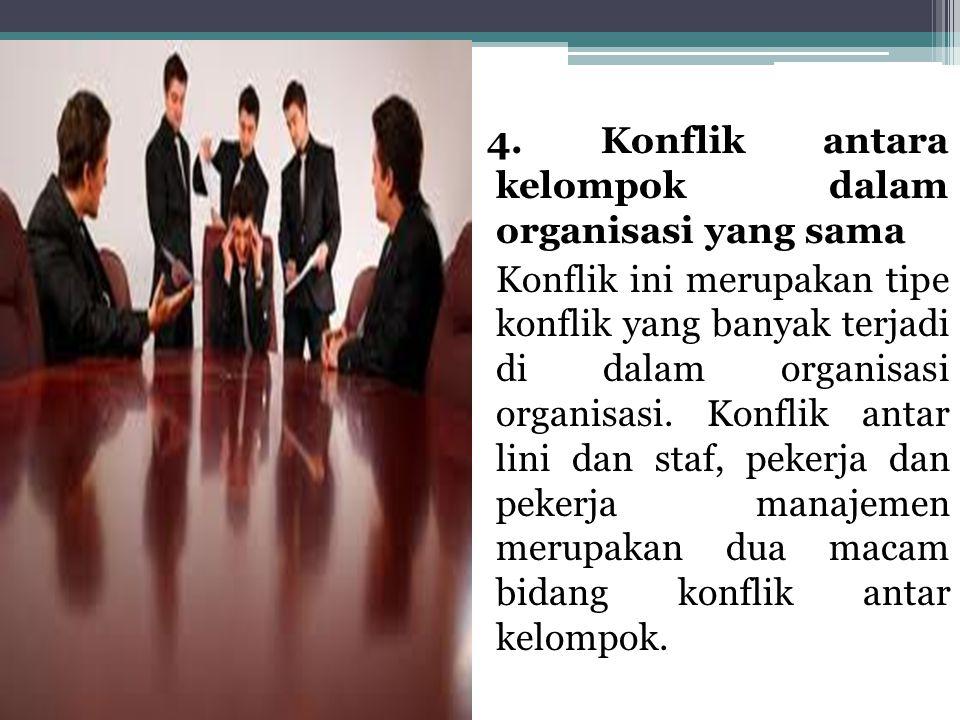 4. Konflik antara kelompok dalam organisasi yang sama Konflik ini merupakan tipe konflik yang banyak terjadi di dalam organisasi organisasi. Konflik a