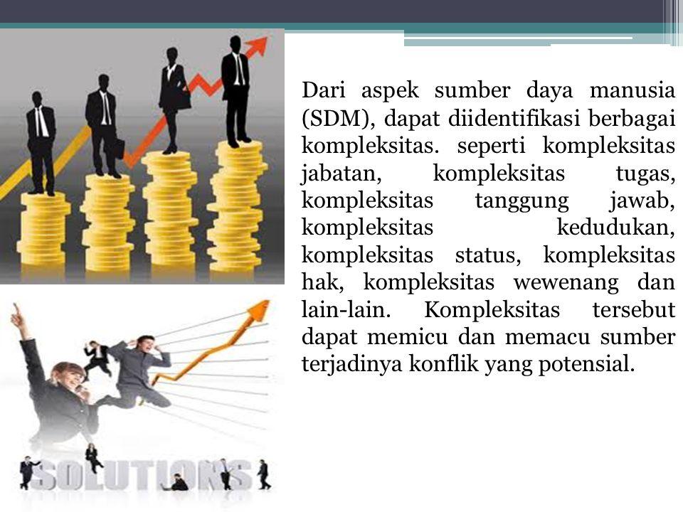 Dari aspek sumber daya manusia (SDM), dapat diidentifikasi berbagai kompleksitas. seperti kompleksitas jabatan, kompleksitas tugas, kompleksitas tangg
