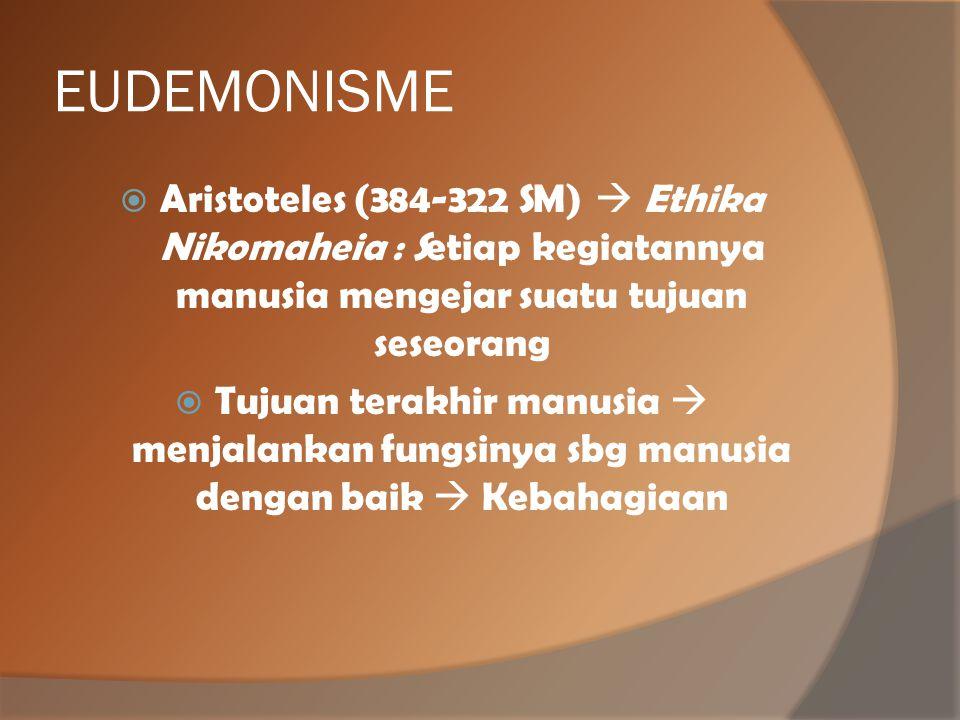EUDEMONISME  Aristoteles (384-322 SM)  Ethika Nikomaheia : Setiap kegiatannya manusia mengejar suatu tujuan seseorang  Tujuan terakhir manusia  me