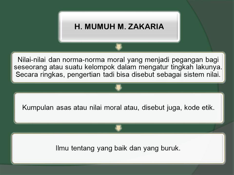 H. MUMUH M. ZAKARIA Nilai-nilai dan norma-norma moral yang menjadi pegangan bagi seseorang atau suatu kelompok dalam mengatur tingkah lakunya. Secara