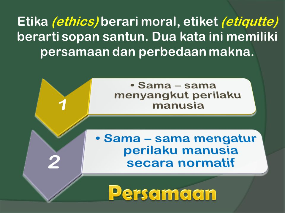 Etika (ethics) berari moral, etiket (etiqutte) berarti sopan santun. Dua kata ini memiliki persamaan dan perbedaan makna.