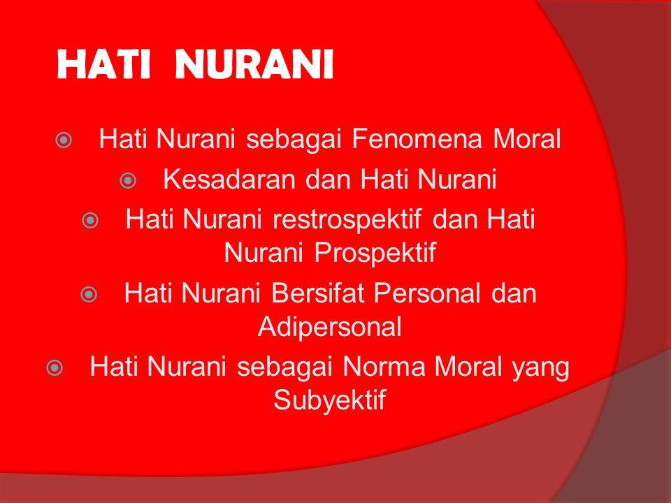 HATI NURANI HHati Nurani sebagai Fenomena Moral KKesadaran dan Hati Nurani HHati Nurani restrospektif dan Hati Nurani Prospektif HHati Nurani