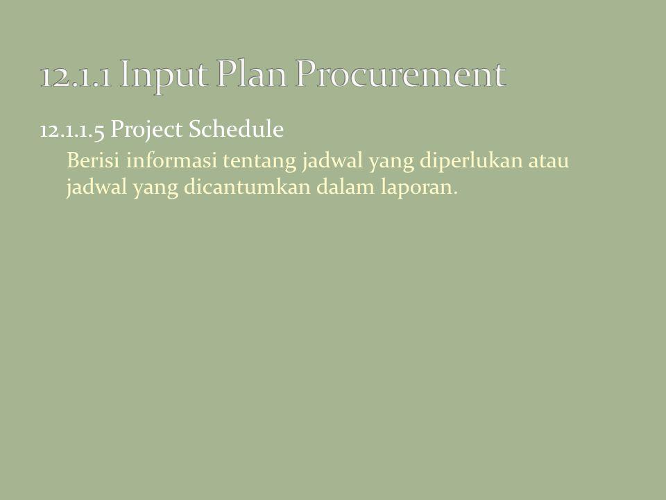 12.1.1.5 Project Schedule Berisi informasi tentang jadwal yang diperlukan atau jadwal yang dicantumkan dalam laporan.