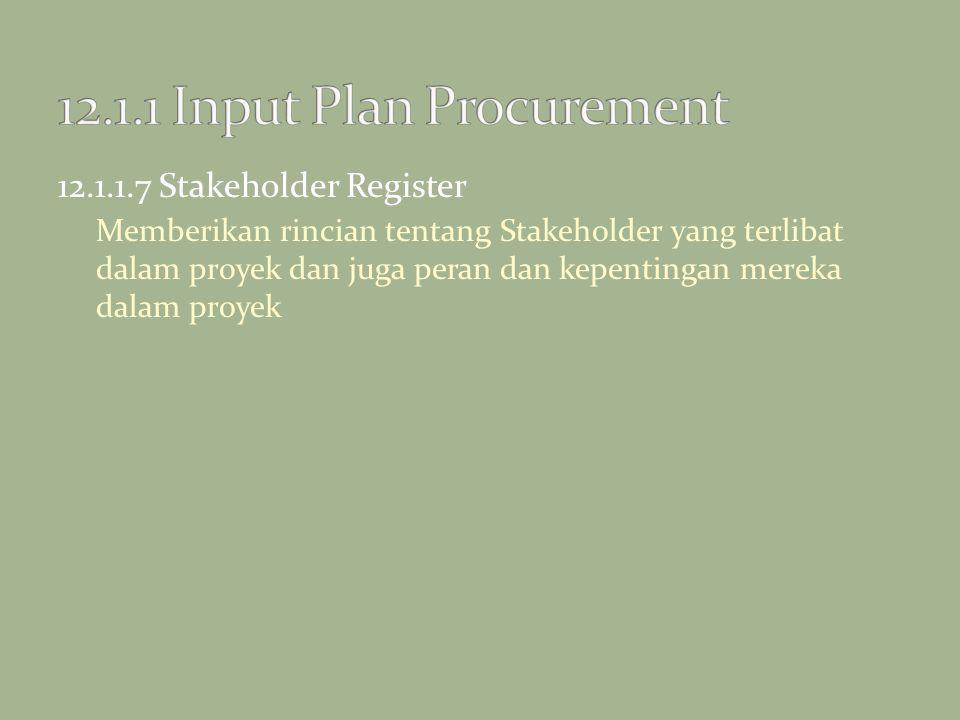 12.1.1.7 Stakeholder Register Memberikan rincian tentang Stakeholder yang terlibat dalam proyek dan juga peran dan kepentingan mereka dalam proyek