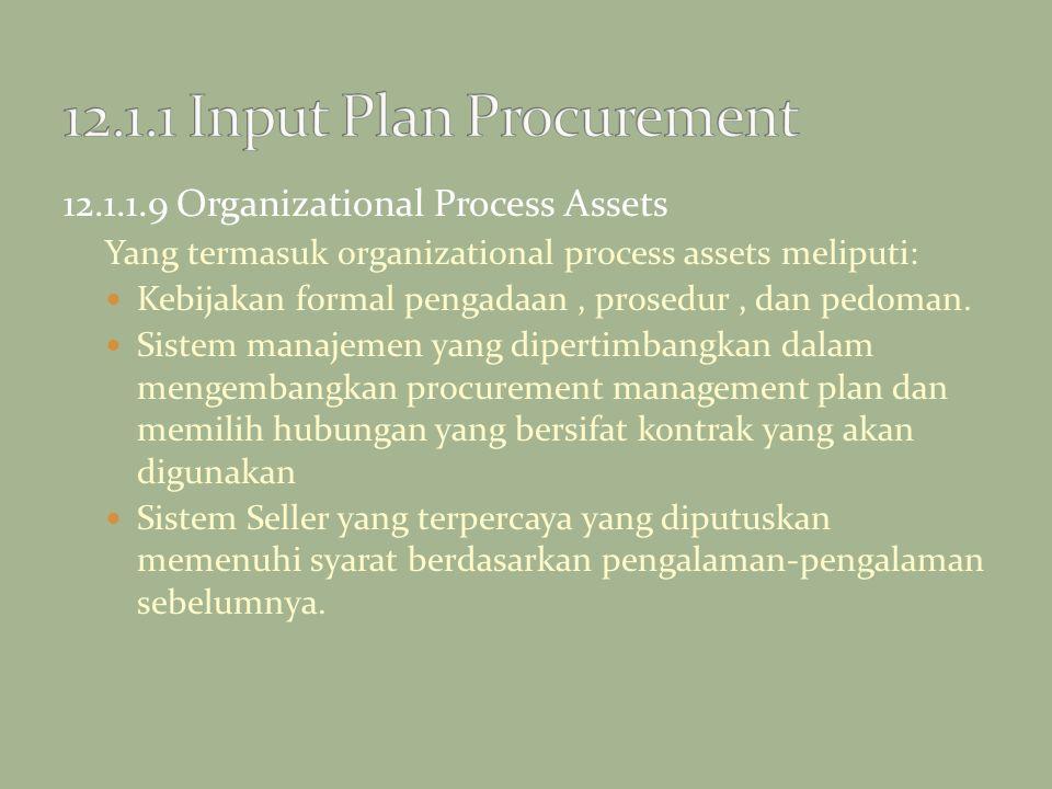 12.1.1.9 Organizational Process Assets Yang termasuk organizational process assets meliputi: Kebijakan formal pengadaan, prosedur, dan pedoman. Sistem