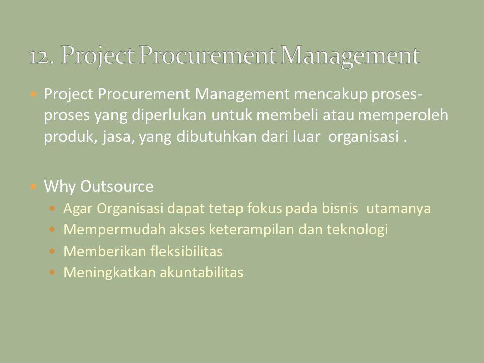 Project Procurement Management mencakup proses- proses yang diperlukan untuk membeli atau memperoleh produk, jasa, yang dibutuhkan dari luar organisas