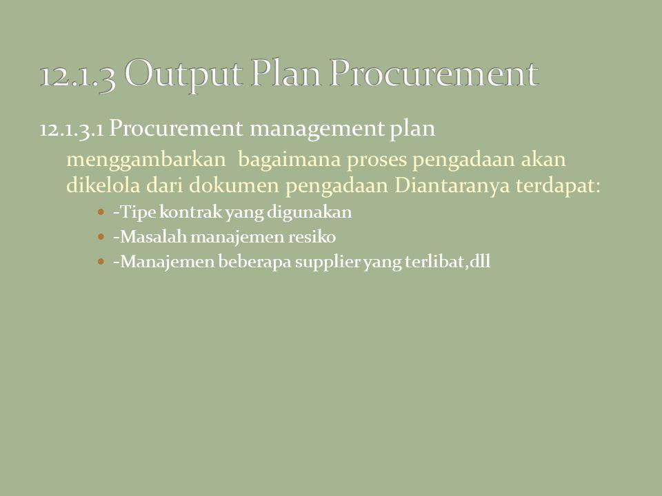12.1.3.1 Procurement management plan menggambarkan bagaimana proses pengadaan akan dikelola dari dokumen pengadaan Diantaranya terdapat: -Tipe kontrak