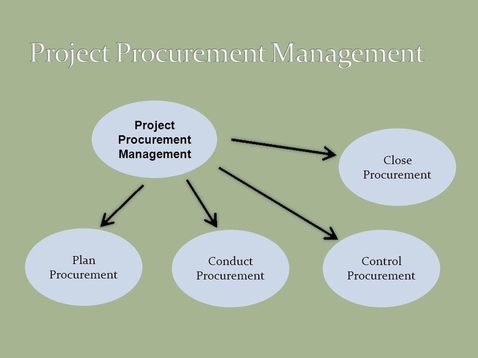 Project Procurement Management Control Procurement Conduct Procurement Plan Procurement Close Procurement