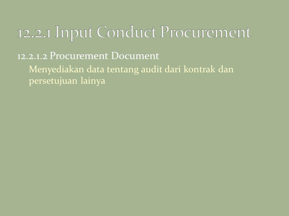 12.2.1.2 Procurement Document Menyediakan data tentang audit dari kontrak dan persetujuan lainya