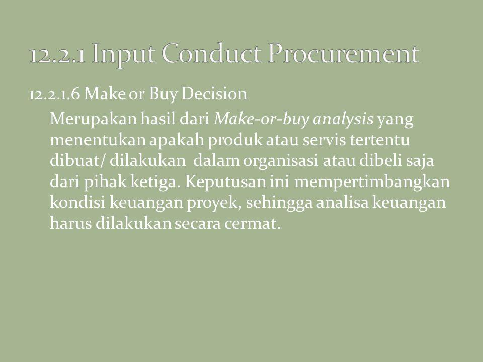 12.2.1.6 Make or Buy Decision Merupakan hasil dari Make-or-buy analysis yang menentukan apakah produk atau servis tertentu dibuat/ dilakukan dalam org