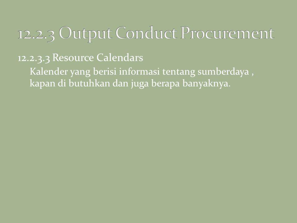 12.2.3.3 Resource Calendars Kalender yang berisi informasi tentang sumberdaya, kapan di butuhkan dan juga berapa banyaknya.