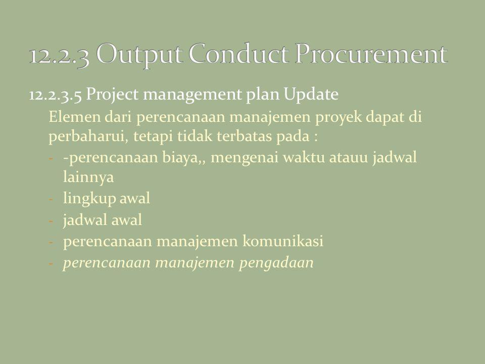 12.2.3.5 Project management plan Update Elemen dari perencanaan manajemen proyek dapat di perbaharui, tetapi tidak terbatas pada : - -perencanaan biay