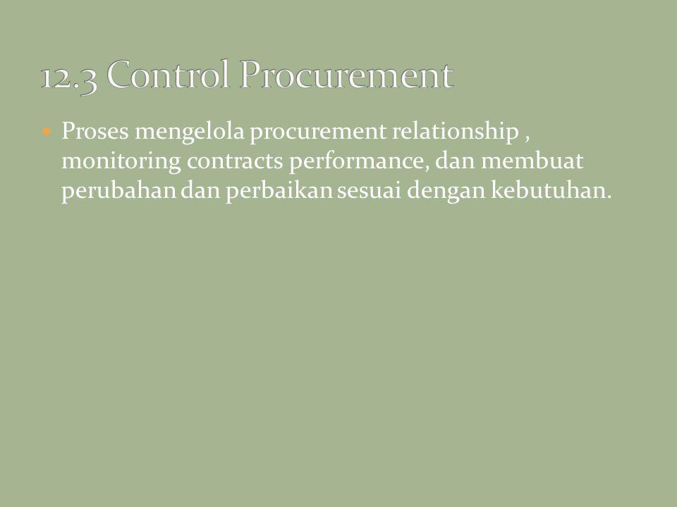 Proses mengelola procurement relationship, monitoring contracts performance, dan membuat perubahan dan perbaikan sesuai dengan kebutuhan.