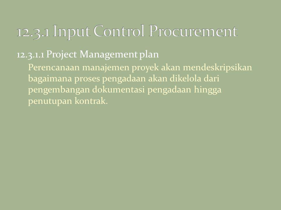 12.3.1.1 Project Management plan Perencanaan manajemen proyek akan mendeskripsikan bagaimana proses pengadaan akan dikelola dari pengembangan dokument