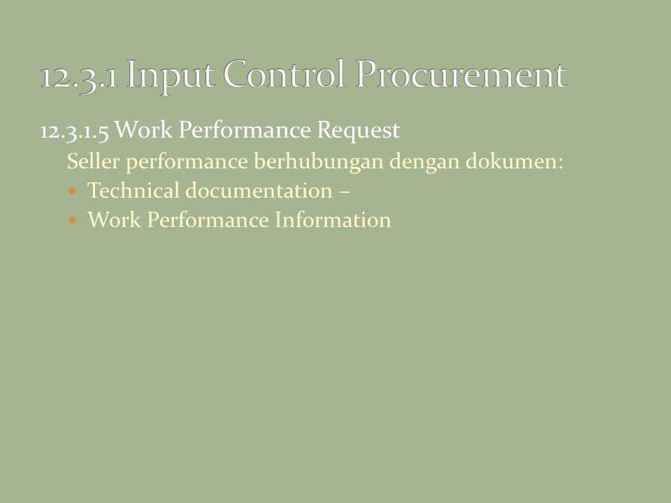 12.3.1.5 Work Performance Request Seller performance berhubungan dengan dokumen: Technical documentation – Work Performance Information