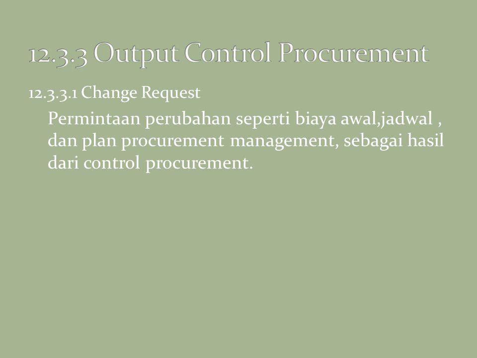12.3.3.1 Change Request Permintaan perubahan seperti biaya awal,jadwal, dan plan procurement management, sebagai hasil dari control procurement.
