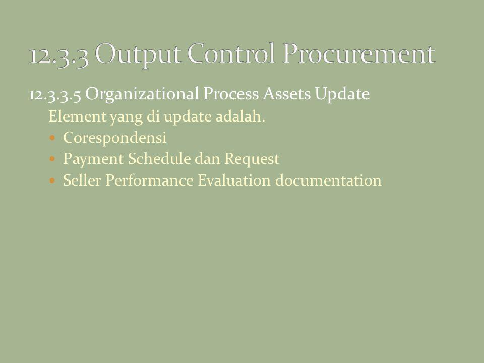 12.3.3.5 Organizational Process Assets Update Element yang di update adalah. Corespondensi Payment Schedule dan Request Seller Performance Evaluation