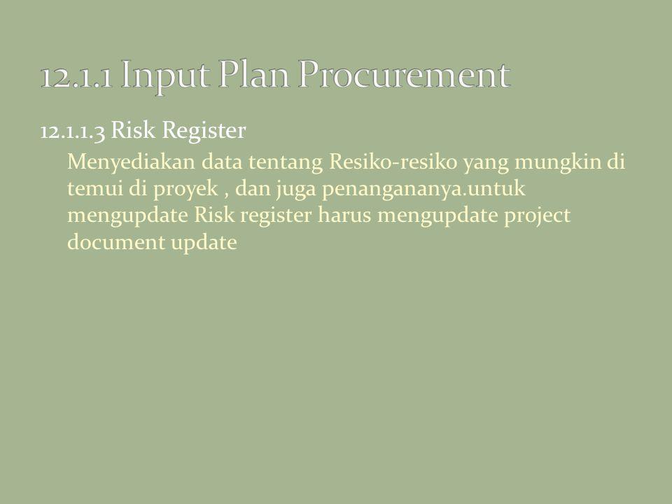 12.1.1.3 Risk Register Menyediakan data tentang Resiko-resiko yang mungkin di temui di proyek, dan juga penangananya.untuk mengupdate Risk register ha