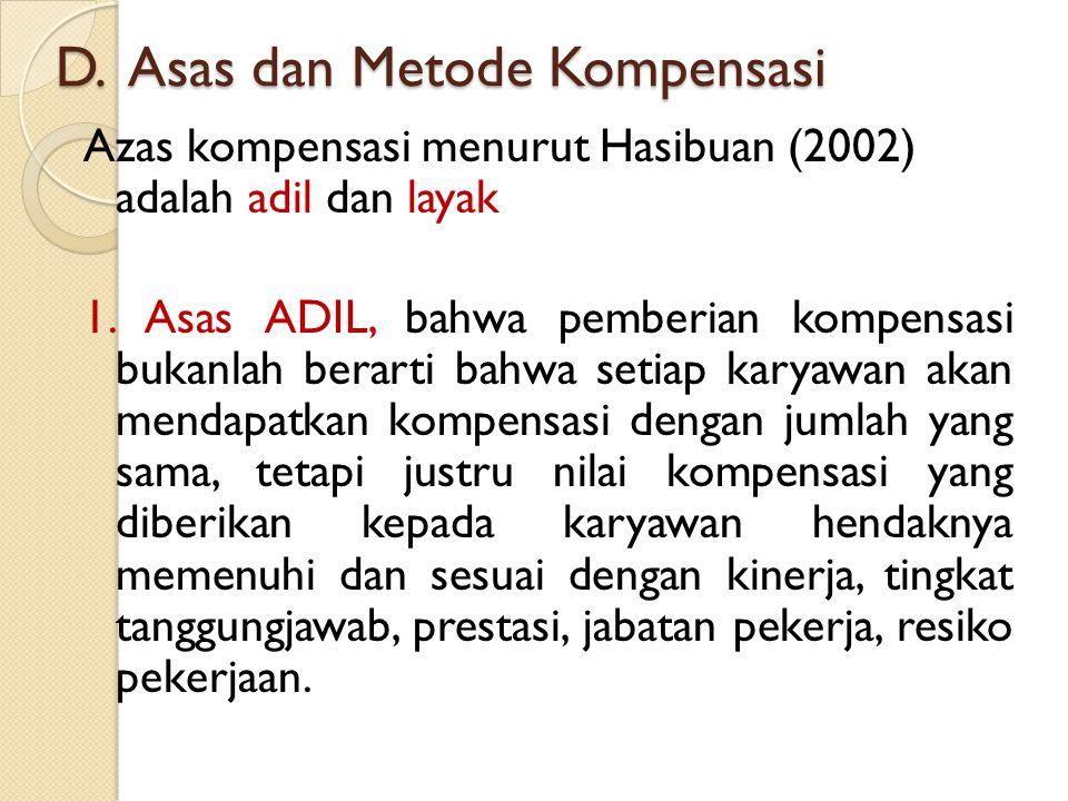 D. Asas dan Metode Kompensasi Azas kompensasi menurut Hasibuan (2002) adalah adil dan layak 1. Asas ADIL, bahwa pemberian kompensasi bukanlah berarti