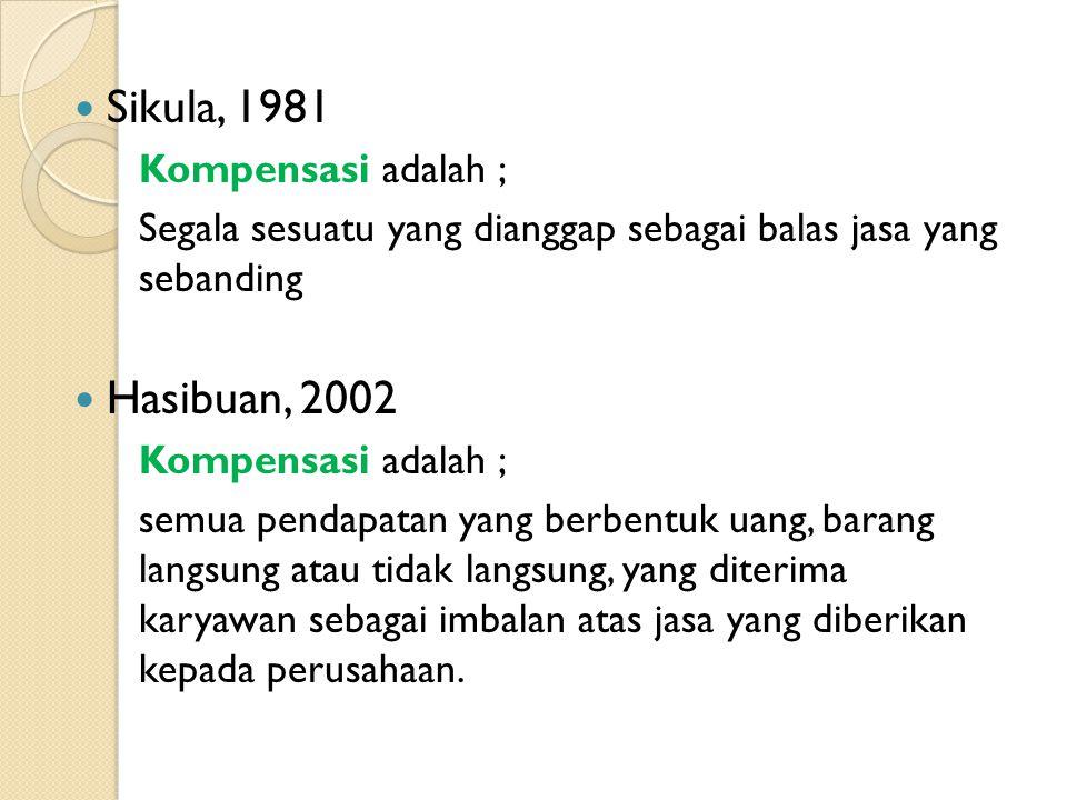 Sikula, 1981 Kompensasi adalah ; Segala sesuatu yang dianggap sebagai balas jasa yang sebanding Hasibuan, 2002 Kompensasi adalah ; semua pendapatan ya