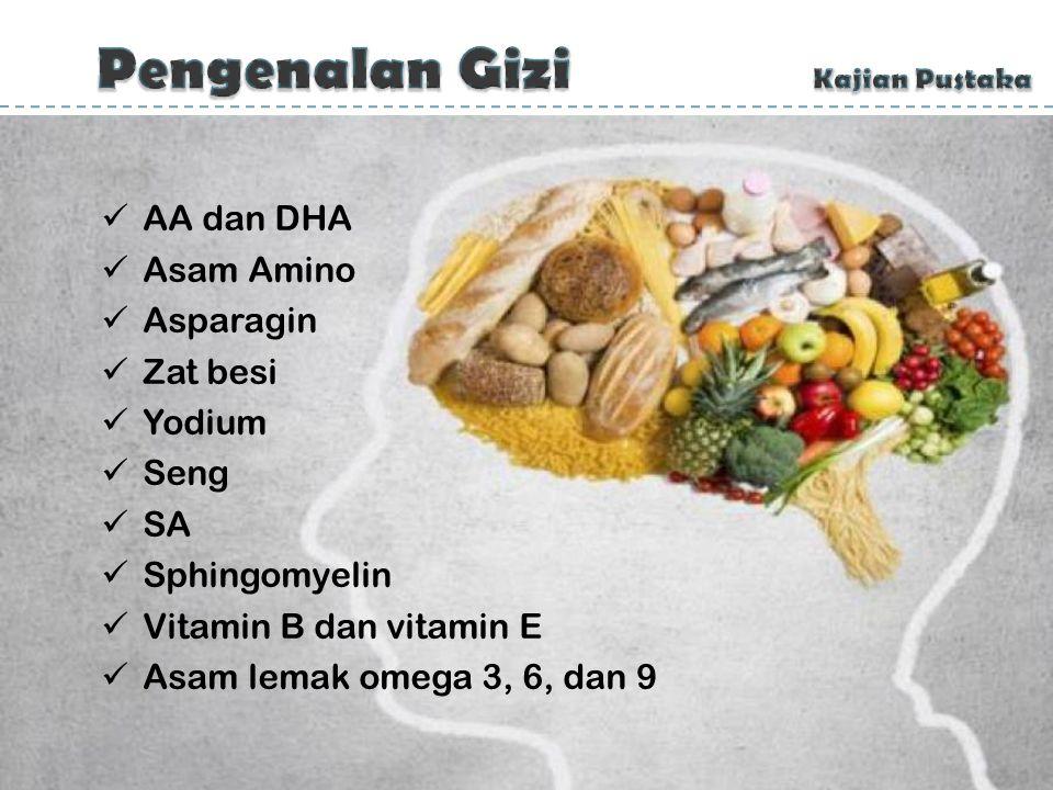 GiziNutrisi karbohidrat, protein, lemak, vitamin, mineral, dan air pertumbuhan, pemeliharaan, dan perbaikan jaringan tubuh AA dan DHA Asam Amino Aspar