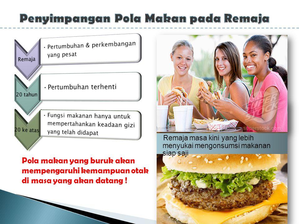 Remaja masa kini yang lebih menyukai mengonsumsi makanan siap saji Pola makan yang buruk akan mempengaruhi kemampuan otak di masa yang akan datang !
