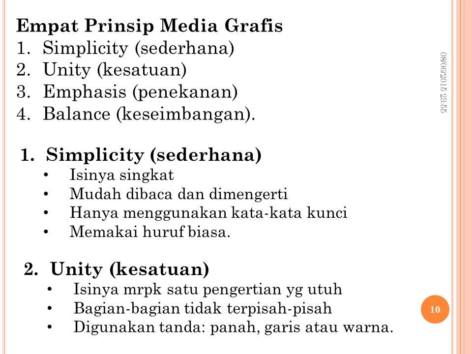08/06/2015 23:57 10 Empat Prinsip Media Grafis 1.Simplicity (sederhana) 2.Unity (kesatuan) 3.Emphasis (penekanan) 4.Balance (keseimbangan). 1.Simplici