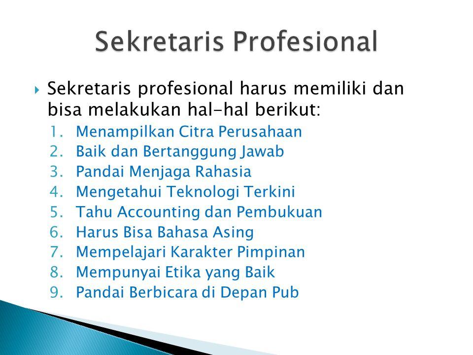  Sekretaris profesional harus memiliki dan bisa melakukan hal-hal berikut: 1.Menampilkan Citra Perusahaan 2.Baik dan Bertanggung Jawab 3.Pandai Menja