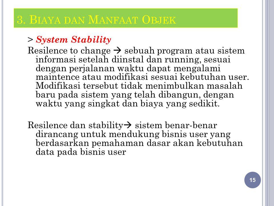 > System Stability Resilence to change  sebuah program atau sistem informasi setelah diinstal dan running, sesuai dengan perjalanan waktu dapat mengalami maintence atau modifikasi sesuai kebutuhan user.