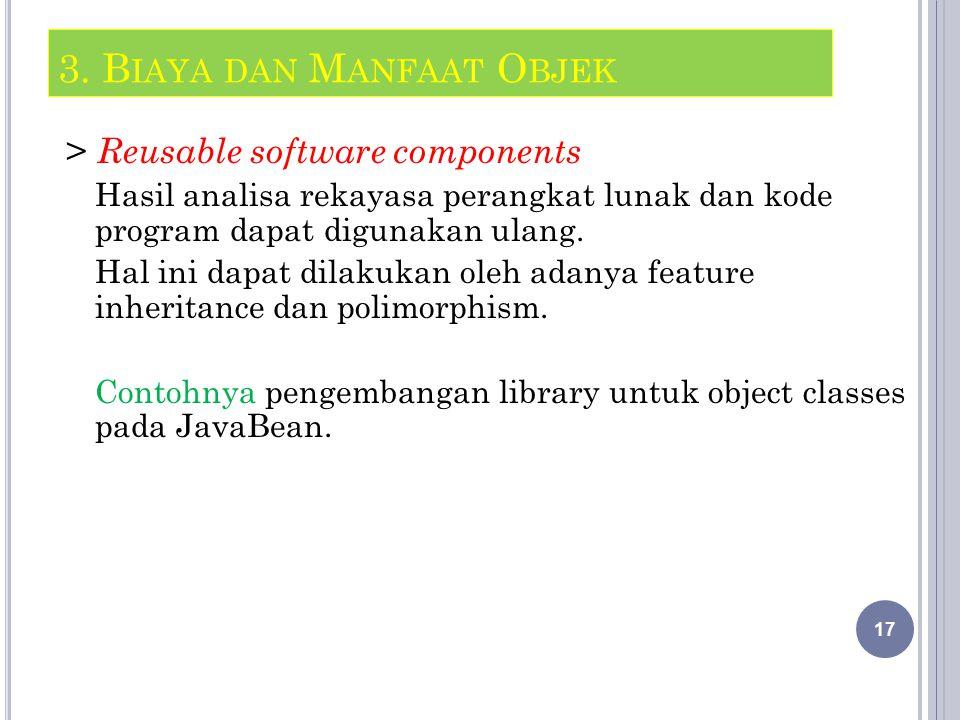 > Reusable software components Hasil analisa rekayasa perangkat lunak dan kode program dapat digunakan ulang.