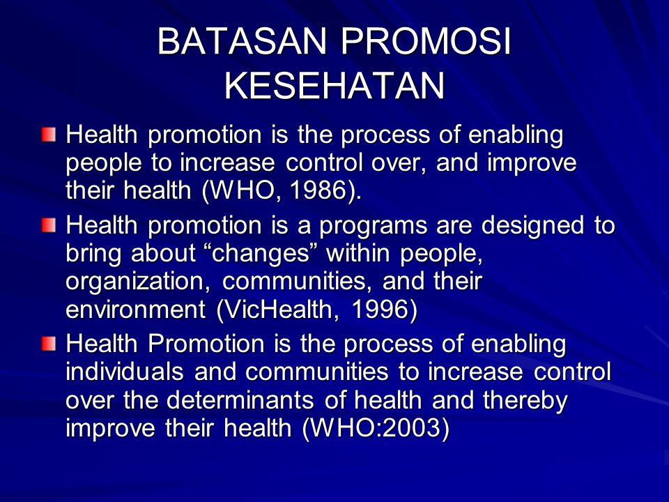 Promosi kesehatan adalah kombinasi berbagai dukungan: menyangkut pendidikan, organisasi, kebijakan, dan peraturan perundangan untuk perubahan lingkungan dan perilaku yang menguntungkan kesehatan (Green and Ottoson, 1998).