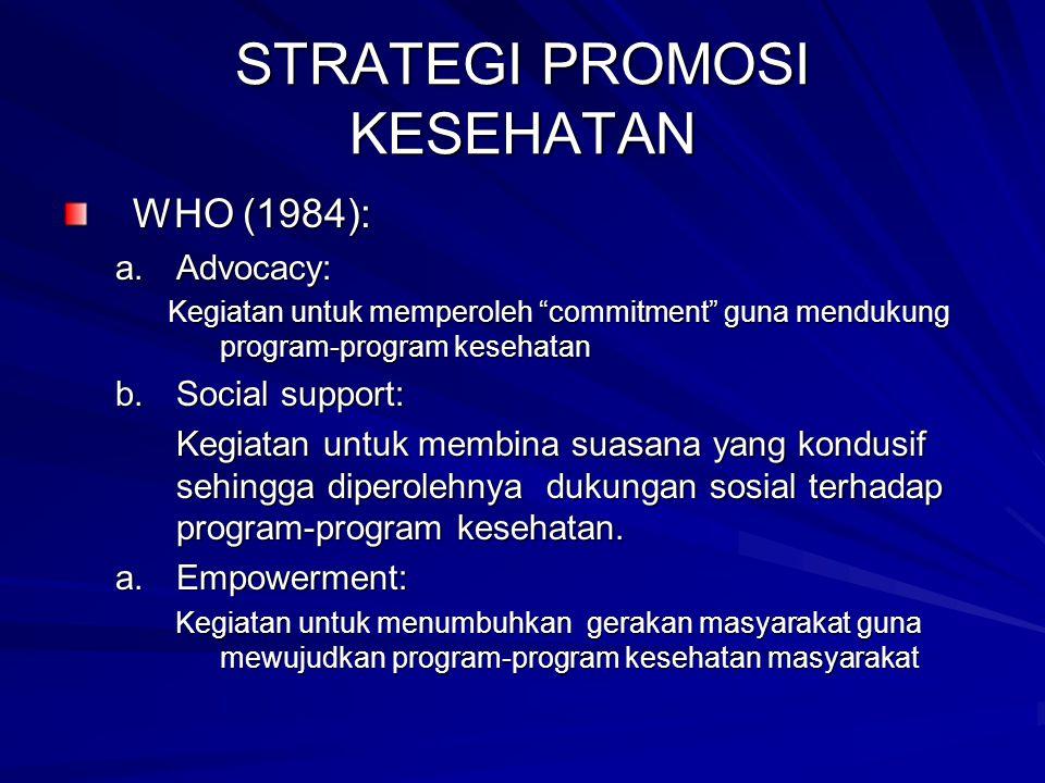 """STRATEGI PROMOSI KESEHATAN WHO (1984): a.Advocacy: Kegiatan untuk memperoleh """"commitment"""" guna mendukung program-program kesehatan b.Social support: K"""