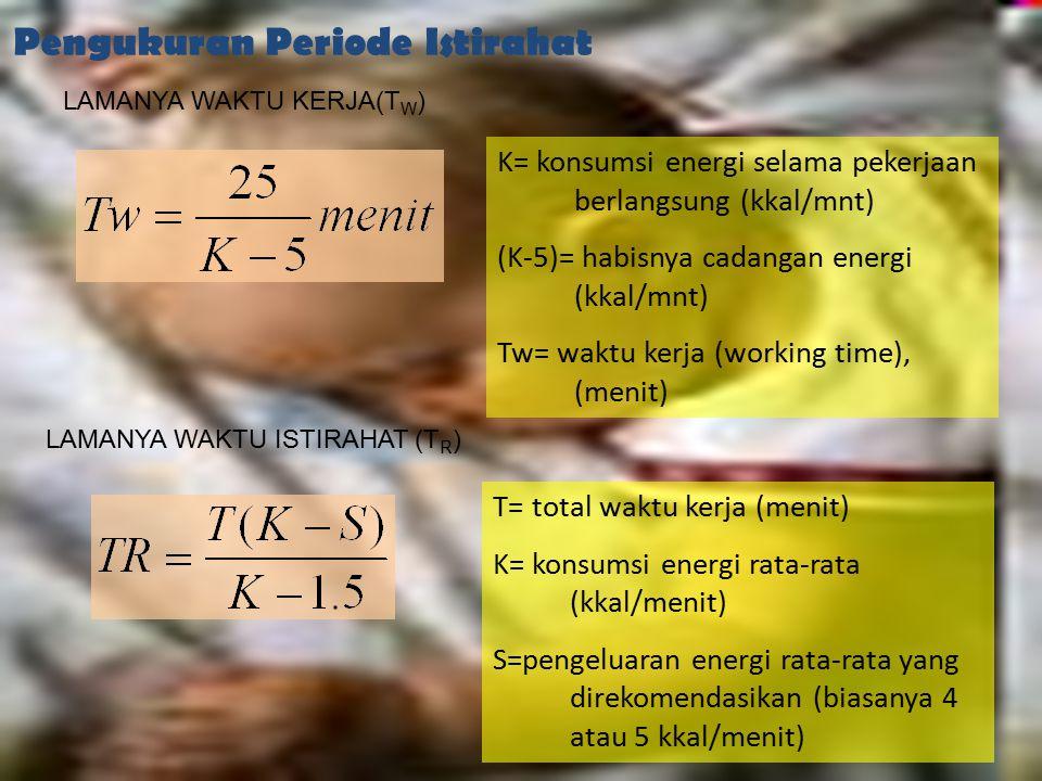 17 Pengukuran Periode Istirahat LAMANYA WAKTU KERJA(T W ) K= konsumsi energi selama pekerjaan berlangsung (kkal/mnt) (K-5)= habisnya cadangan energi (
