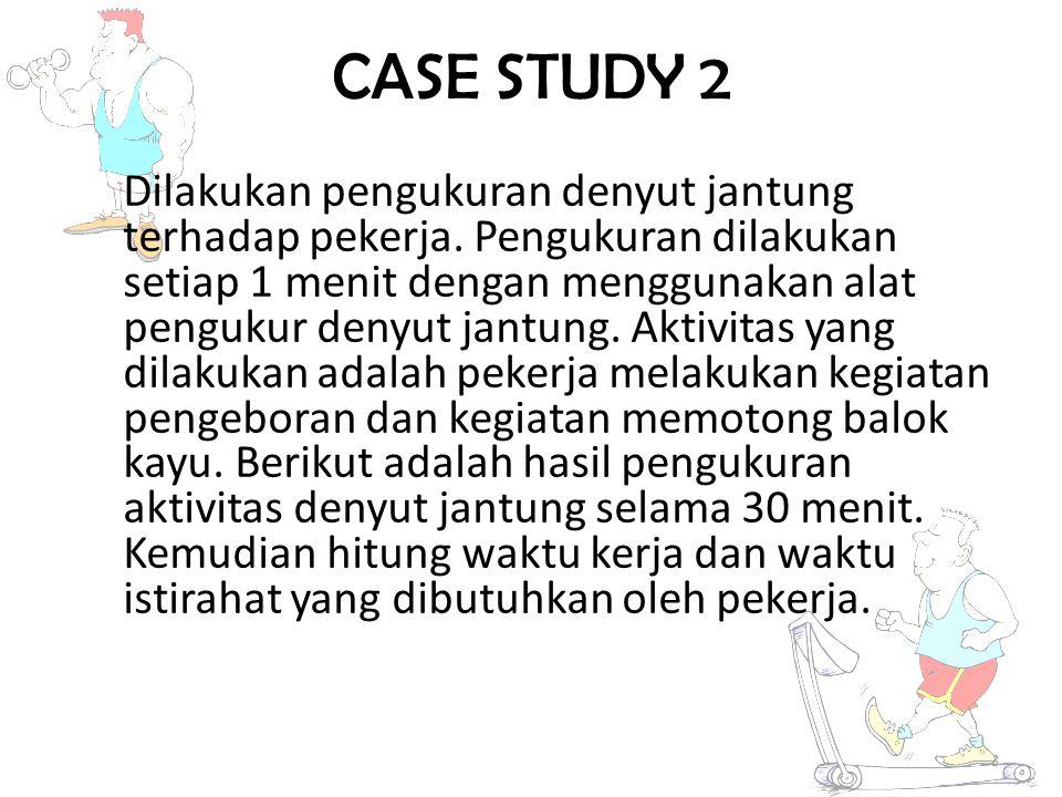 18 CASE STUDY 2 Dilakukan pengukuran denyut jantung terhadap pekerja. Pengukuran dilakukan setiap 1 menit dengan menggunakan alat pengukur denyut jant
