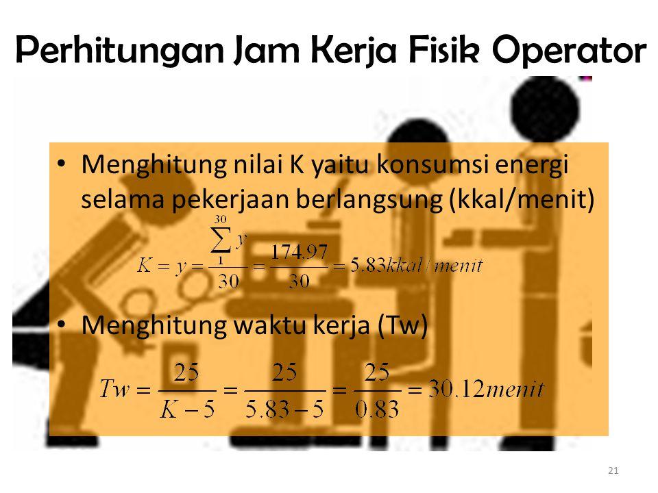 21 Perhitungan Jam Kerja Fisik Operator Menghitung nilai K yaitu konsumsi energi selama pekerjaan berlangsung (kkal/menit) Menghitung waktu kerja (Tw)