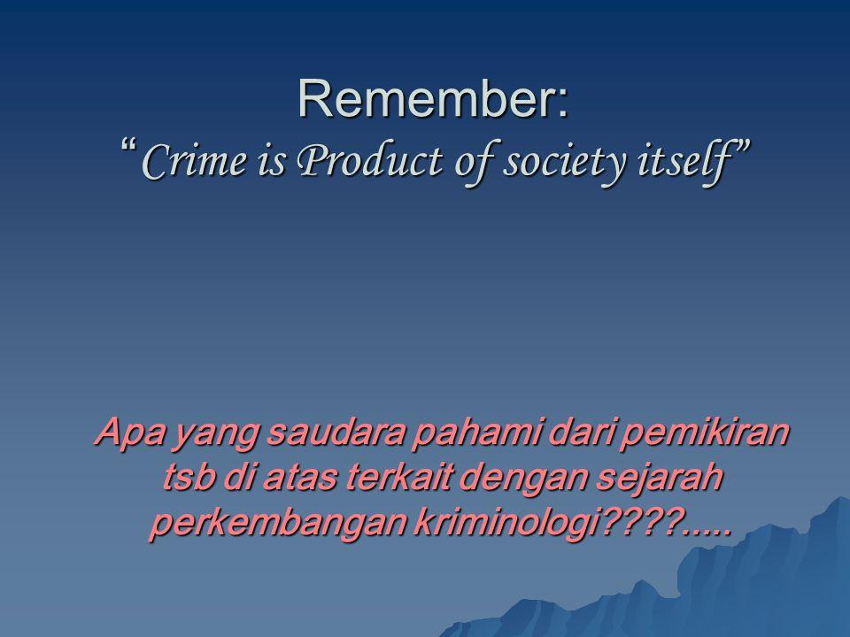 """Remember: """" Crime is Product of society itself"""" Apa yang saudara pahami dari pemikiran tsb di atas terkait dengan sejarah perkembangan kriminologi????"""