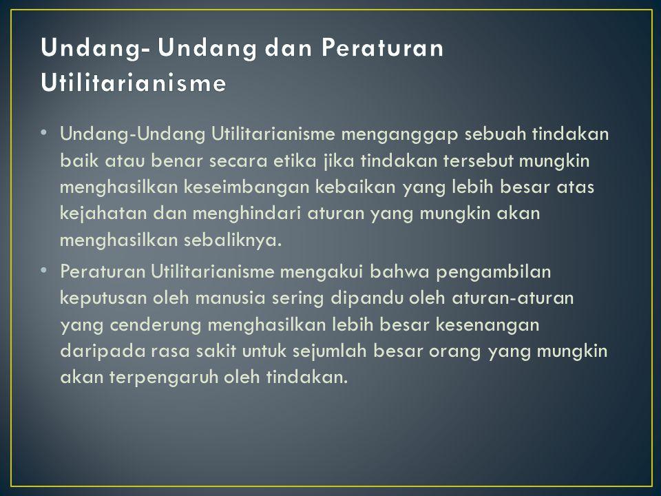 Undang-Undang Utilitarianisme menganggap sebuah tindakan baik atau benar secara etika jika tindakan tersebut mungkin menghasilkan keseimbangan kebaika