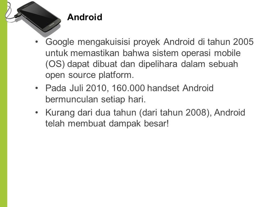 Google mengakuisisi proyek Android di tahun 2005 untuk memastikan bahwa sistem operasi mobile (OS) dapat dibuat dan dipelihara dalam sebuah open sourc